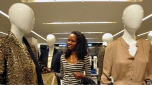 Woman in a branch of Zara in South Africa