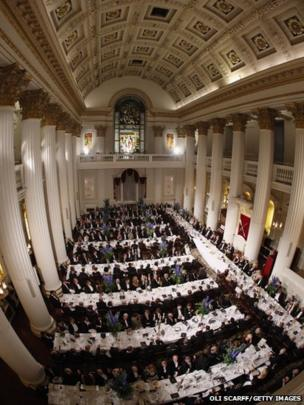 Guests listen to speeches during the Lord Mayor's Dinner to the Bankers and Merchants of the City of London at the Mansion House