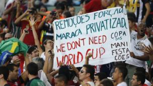 Spectators at Confederations Cup match in Rio de Janeiro protest against spending on next year's World Cup