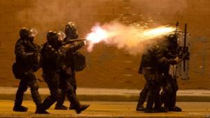 Police fire tear gas in Rio de Janeiro, Brazil, on 20 June 2013