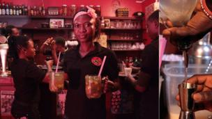 """Photos taken at a bar in Ghana's capital, Accra. L: A waitress carrying drinks on Friday 14 June 2013. L: A bartender pours out a measure of """"akpeteshie"""" on Tuesday 18 June 2013"""