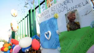Balloons and letters from well-wishers outside the Medi-Clinic Heart Hospital in Pretoria on 24 June 2013