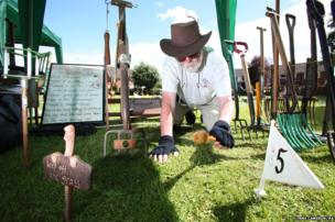 Chairman Mike Forster at the 34th World Worm Charming Championship in Willaston, Cheshire