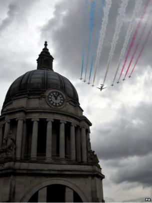 The Red Arrows fly above Nottingham