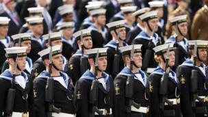 "Royal Naval service personnel gather for the Armed Forces"" Day Parade in Portsmouth"