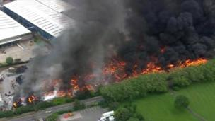 Aerial photograph of the Smethwick fire