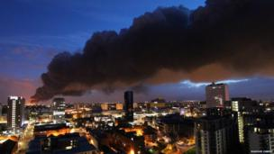 Smoke seen from Birmingham City Centre by Masoud Zakeri
