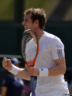 Andy Murray celebrated breaking Novak Djokovic's serve in the first set of the final.