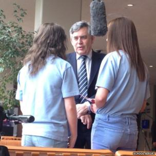 Gordon Brown is interviewed by the girls