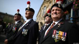 A group of veterans at the funeral service for Fusilier Lee Rigby