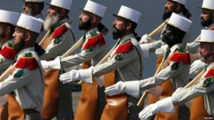 Soldiers from the French Foreign Legion on the parade.