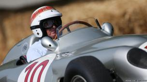 Former F1 World Champion Sir Jackie Stewart drives the 1954 Mercedes W196