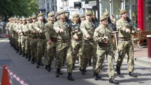 Princess of Wales's Royal Regiment parade in Tunbridge Wells