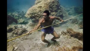 Moken people swimming
