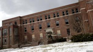 An abandoned hospital in Detroit in February 2013