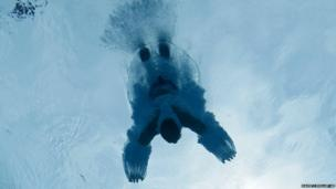 A diver entering the pool