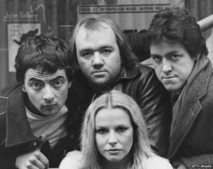 (l-r) Rowan Atkinson, Mel Smith and Griff Rhys Jones with New Zealand-born comedian Pamela Stephenson (below)