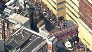 Scene outside St Mary's Hospital
