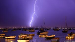 lightning hits Poole Harbour