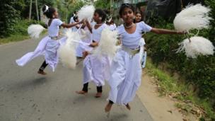 Children practise for the Kandy Esala Perahera festival in Sri Lanka. Photo: James Ferryman