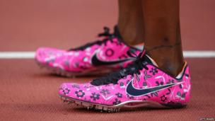 Perri Shakes-Drayton's bright pink running shoes