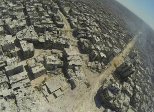 A handout image released by the Syrian opposition's Shaam News Network on 29 July 2013 purportedly shows an aerial view of Khalidiya, Homs
