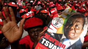 MDC supporters in Zimbabwe at a campaign rally