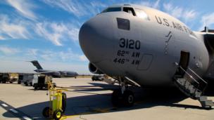 A C-17 plane at Manas air base