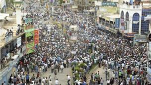Protestors in Anantapur, Andhra Pradesh, 31 July 2013.