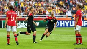 Anja Mittag of Germany celebrates