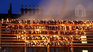Burning art installation in Edinburgh