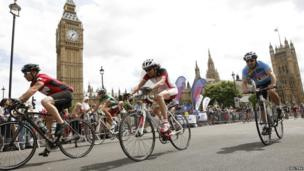 Cyclists taking part in a 100-mile race from Surrey to London
