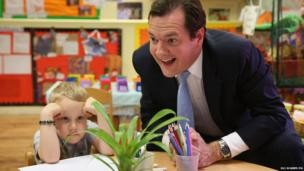 Chancellor of the Exchequer George Osborne during a visit to a nursery in Hammersmith, London.