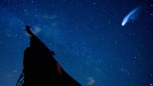 Night sky during Perseid meteor shower above a billboard of a bull in Villarejo de Salvanes, central Spain (12 Aug 2013)