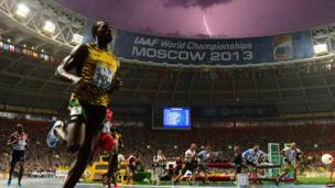 Jamaica's Usain Bolt wins the 100m final at the 2013 IAAF World Championships at the Luzhniki stadium in Moscow on 11 August 2013