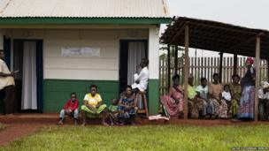 Patients waiting for lab results at the Merlin-supported hospital in Batalimo refugee camp, Central African Republic