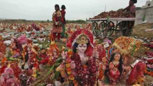 Idols of the Hindu goddess Dashama in Ahmedabad, India - 16 August 2013