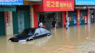 A flooded street in Maoming, China - 15 August 2013