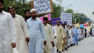 Muslims in Islamabad, Pakistan protest about the violence in Egypt - Friday 16 August 2013