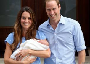 The Duchess and Duke of Cambridge with their son George