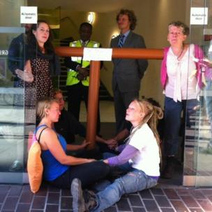 Protesters blockade Bell Pottinger's HQ