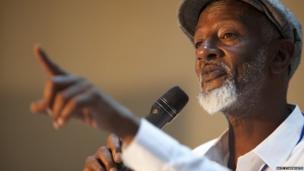 Abdi Latif Ega, presenting his debut novel, Guban, which means
