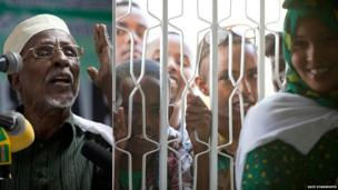 Left: Somali poet Hadraawi speaking at the book fair opening Right: Young boys crowd at the doorway to see Hadraawi reciting his poetry - - Hargeisa, Somaliland