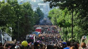 Massive crowds out in London for Notting Hill Carnival