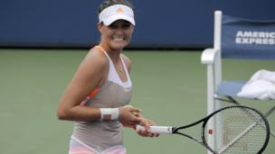 Laura Robson smiles after winning her first round match at the US Open