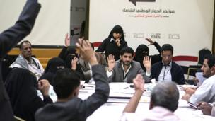 Members of the NDC's Rights and Freedoms Working Group vote on resolutions which may end up as articles in Yemen's new constitution
