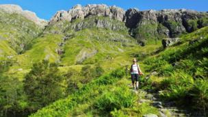 Hillwalker descends from Stob Coire nam Beith