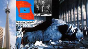 Clockwise from left: CN Tower; First festival programme cover; Dino De Laurentiis; King Kong still