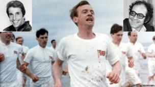 L to R: Henry Winkler as The Fonz; Ben Cross, Ian Charleson and others in Chariots of Fire; Jean-Luc Godard