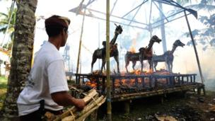 "Sarcophagus resembling a buffalo and containing human remains burn during a procession for ""ngaben"", a mass cremation ceremony, at Payangan village, Bali, on September 2, 2013. After days of elaborate Hindu rituals, 63 bodies were cremated in a sacred ceremony."